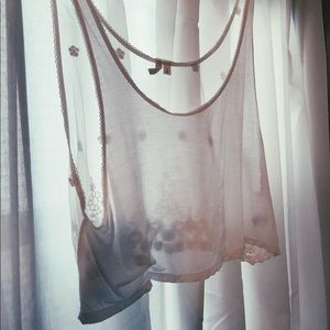 Frenchi Tops |  White Sheer Crop Top W Lace: M
